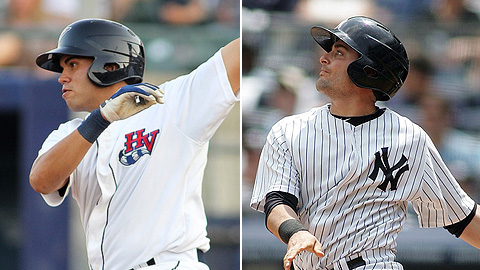 Francisco Cervelli (right) wears the same helmet as Alejandro Torres.
